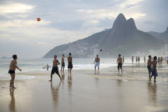Group of Brazilians Playing Altinho Futebol Beach  Stock Photography
