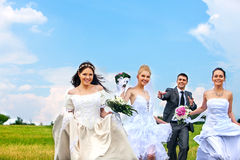 Group bride and groom summer outdoor Royalty Free Stock Image