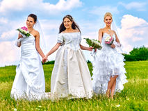 Group bride and groom summer outdoor Royalty Free Stock Photography
