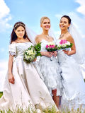 Group bride and groom summer outdoor Stock Photo
