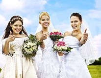Group bride and groom summer outdoor. Stock Photos