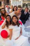 Group of brides and grooms royalty free stock photos