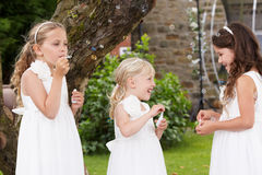 Group Of Bridesmaids Blowing Bubbles In Garden Stock Photography