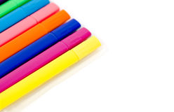 Group of bright color markers on white background Stock Photos