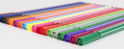 Group of bright markers Stock Photos