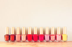 Group of bright nail polish bottles Stock Photo