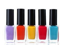 Group of bright nail polishes. Over the white Royalty Free Stock Photo