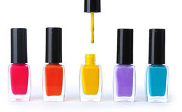Group of bright nail polishes. Over the white Royalty Free Stock Photography