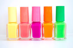 Group of bright nail polishes Royalty Free Stock Image