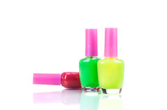 Group of bright nail polishes Stock Photo