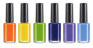 Group of bright nail polishes isolated Royalty Free Stock Photography