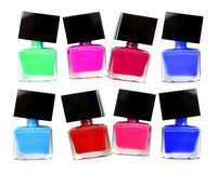 Group of bright nail polishes isolated on white. Stock Photography