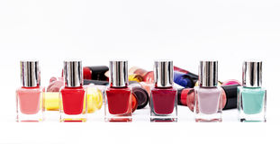 Group of bright nail polishes isolated on white Stock Photography