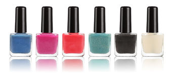 Group of bright nail polishes  Stock Images