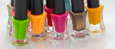 Group of bright nail polishes Stock Photos