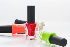 Group of bright nail polishes Royalty Free Stock Images