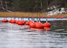 Group of bright red buoys floating in the Baltic Sea on late Autumn overcast day. Group of bright red buoys floating in the natural harbor on the coast of Baltic royalty free stock images