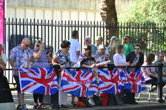 Group of British fans awaiting for the athlets Stock Image