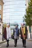 Group Of British Muslim Businesswomen Leaving Royalty Free Stock Photos