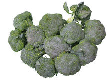 Group of broccoli. For sale at market on white background Royalty Free Stock Photo