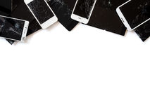 Group of broken smartphone screen e-waste isolate stock photos