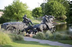 Group Bronze sculpture in Centennial Land Run Monument royalty free stock photography