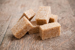 Group of brown cane sugar cubes Stock Photo