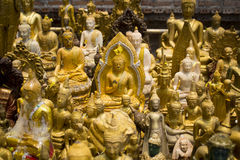 Group of Buddha image in public temple Royalty Free Stock Photo