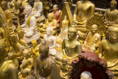 Group of Buddha image in public temple. On Songkran Festival Royalty Free Stock Image