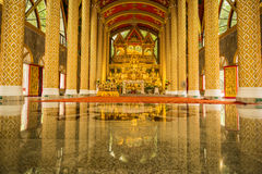 Group of Buddha Images in beautiful Buddhist church. Wat Phru Phao, Ubon Ratchathani, Thailand Stock Photos