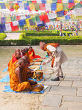 Group of buddhist monks in lumbini, nepal. Offends to Buddhist monks Stock Photos
