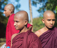 Group of buddhist monks visiting Sigiriya complex Stock Image
