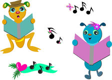 Group of Bugs Singing Notes Royalty Free Stock Photography