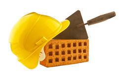 Group of building blocks and tools Royalty Free Stock Images