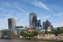 group of buildings river bank Tames royalty free stock photo