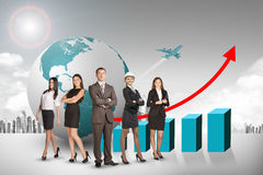 Group of buisnesspeople with earth globe and graph Royalty Free Stock Image