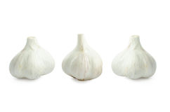 Group bulb Head of garlic isolated on white background with shadow Stock Photos