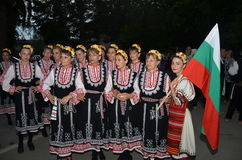 The group of Bulgarian girls in traditional costumes Royalty Free Stock Images