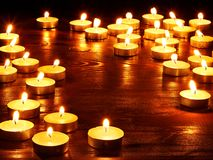 Group of burning candles. Royalty Free Stock Photos