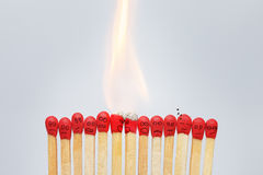Group of burning emotional matches Royalty Free Stock Image