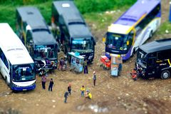 Group of Bus parking Stock Images