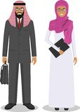 Group of business arab man and woman, working people standing together on white background in flat style. Business arabic team  Royalty Free Stock Image