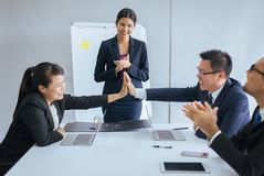 Group of business asian people hands clapping after meeting,Success presentation and coaching seminar at office stock photography