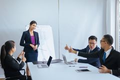 Group of business asian people hands showing thumb up after meeting,Success presentation and coaching seminar at office royalty free stock photos