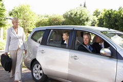 Group Of Business Colleagues Car Pooling Journey Into Work Royalty Free Stock Photo