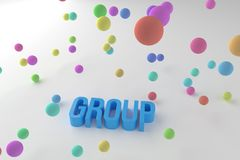 Group, business conceptual colorful 3D rendered words. Abstract, typography, graphic & design. Group, business conceptual colorful 3D rendered words. Background vector illustration
