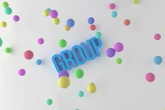 Group, business conceptual colorful 3D rendered words. Illustration, positive, message & artwork. Group, business conceptual colorful 3D rendered words. Good royalty free illustration