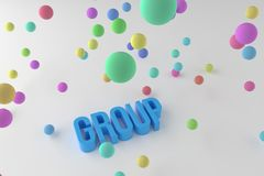 Group, business conceptual colorful 3D rendered words. Style, communication, text & web. Group, business conceptual colorful 3D rendered words. Abstract CGI stock illustration
