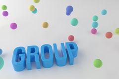 Group, business conceptual colorful 3D rendered words. Text, abstract, design & typography. Group, business conceptual colorful 3D rendered words. CGI stock illustration