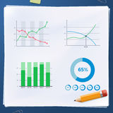 Group of business diagram on paper with pencil. Group of business diagram on paper with yellow pencil Royalty Free Stock Photography